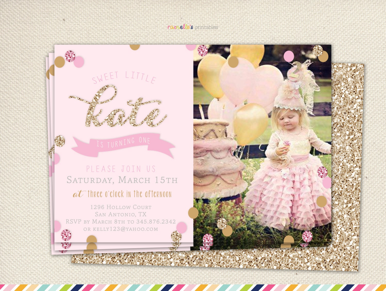 First Birthday Printable Invitations Pink and Gold – First Birthday Printable Invitations