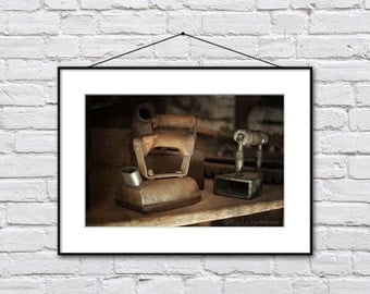 Vintage Irons Photograph, Art For Laundry, Laundry Room Photo Print, Retro Laundry Art, Brown Wall Decor Print, Fine Art Print Laundry Decor