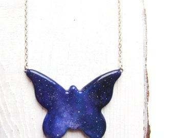 Handpainted pendant, butterfly pendant, butterfly necklace, handpainted jewelry, violet pendant, butterfly jewelry
