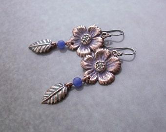 Small dangle copper flower earrings, copper jewerly, handmade earrings, copper dangle earrings,  earrings with flower, copper flower