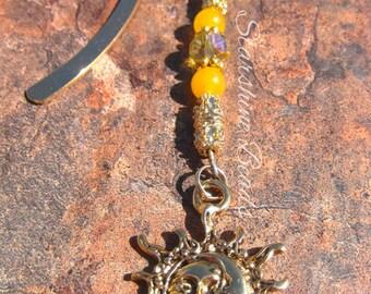 Golden Celestial Bookmark - Yellow Jade Bookmark, Celestial Bookmark, Sun Moon Bookmark, Sun Bookmark, Gold Bookmark, Beaded Bookmark, Book