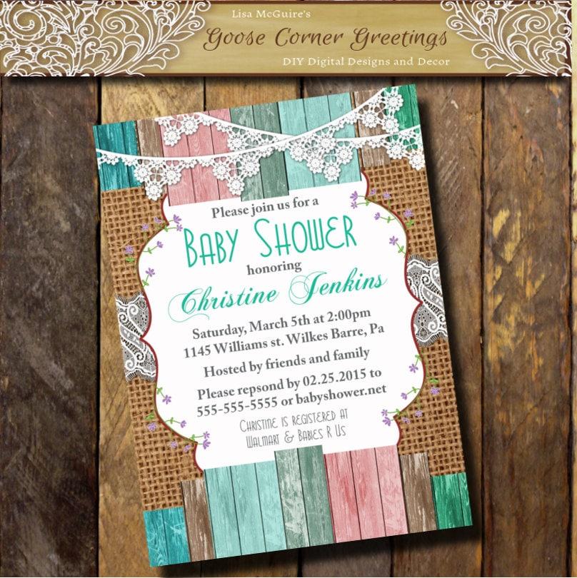 burlap baby shower invitation brunch lace wood rustic shabby