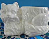 Ceramic White Cat Planter, Kitty Flower Pot, Plant Holder, Pottery Vase, Long Hair Persian, Kitty Container, Kitty Cat Figurine Pot, Vessel