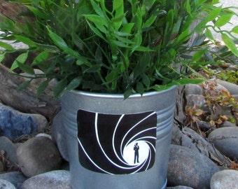 JAMES BOND, galvanized metal silver planter pot, 007, Secret Agent, shaken not stirred, British, Bond James Bond