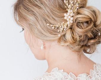 Blush Hairpiece, Bridal Hairpiece, Pearl Bridal Hair Comb
