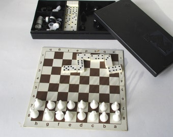 Chess Checkers Domino Set, Mini Pocket Chess, Travel Chess, Magnetic Complete Set, Small Board Game, Great Gift