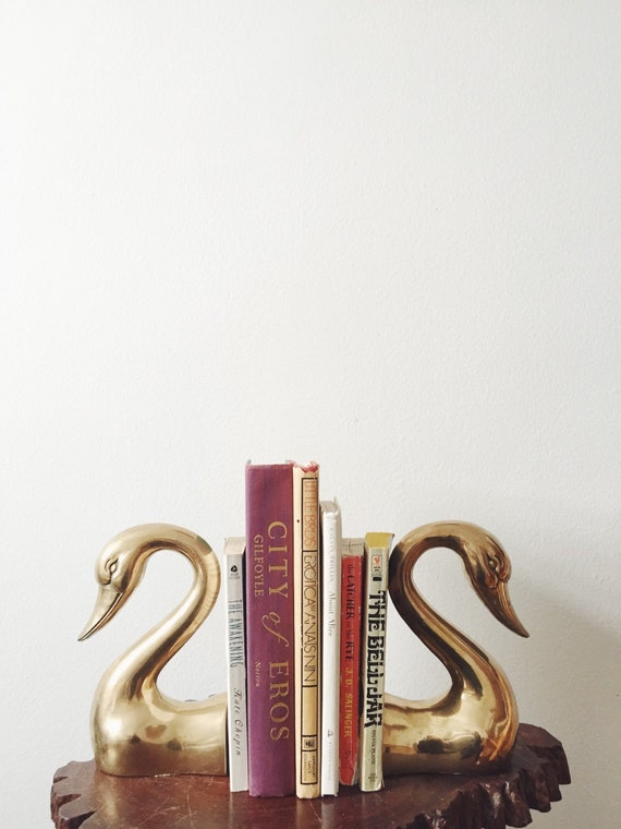 brass swan bookends pair gold goose bookends brass duck
