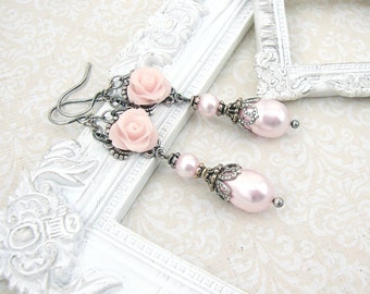 Light Pink Victorian Rose Earrings - Swarovski Pearl Resin Rose Earrings - Antique Silver Flower Earrings Cottage Chic Victorian Jewelry