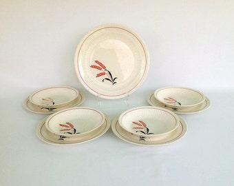 Retro 1950's Red and Black Wheat Pattern Dinnerware Dish Set, 9 Piece Vintage Dish Set by Royal China Sebring Ohio Pottery Company