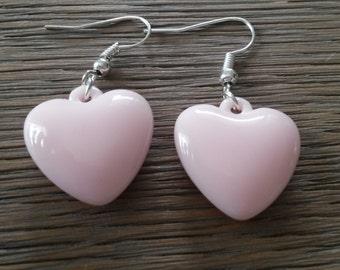 Pink heart earrings, pink hearts, pink earring