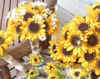 Sunflower Bridal Bouquet and Grooms Boutonniere or Bridesmaids and Groomsmen / Silk Wedding Flowers / 12 Pc. Sunflower Wedding Set