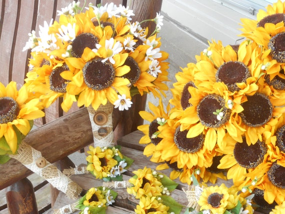 Sunflower bridal bouquet grooms boutonniere or bridesmaids