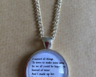 "Kurt Vonnegut ""And I made this sad world a paradise"" Quote Necklace - Handmade Unique"