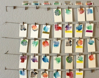 Price Reduced // Watercolor Calendar // Perpetual Reusable // Art Print Wall Calendar // FREE Shipping