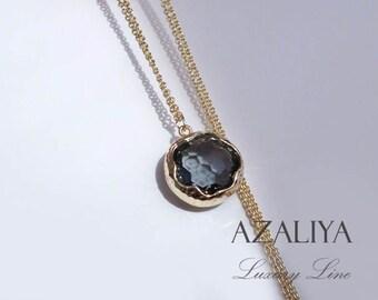 Black Diamond Necklace Gold Plated. Oval Bezel Stone Necklace. Round Pendant Necklace. Azaliya. Bridesmaids Necklace. Bridesmaids Gift.