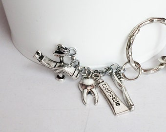 3D Silver Plated Dentist Chair, Toothpaste, Tooth Brusch, Tooth Key Chain Bag Charm KC100
