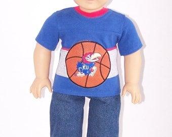 Up-cycled Kansas University Basketball T Shirt - fits 18 inch Girl and Boy Dolls