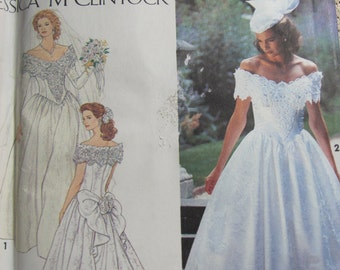 Simplicity 8165, Jessica McClintock Wedding Dress with Train and Scalloped Back, Sewing Pattern, Sizes 12, 14 and 16 Uncut