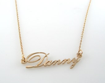 Cursive Name necklace. Delicate Gold name necklace-18k gold plated sterling silver necklace. classic name necklace