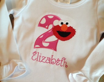 Elmo long sleeve ruffle birthday shirt