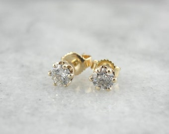 Simple Polished Diamond Stud Earrings 76T9CL-P