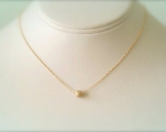 Gold Necklace, Dainty 14k Gold Filled Necklace, Stardust Bead Necklace, Minimalist Jewelry, Necklace In Handmade, Esty Gifts, Boho Jewelry