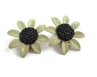 Vintage Dainty Enamel Metal Flower Power Clip  Earrings