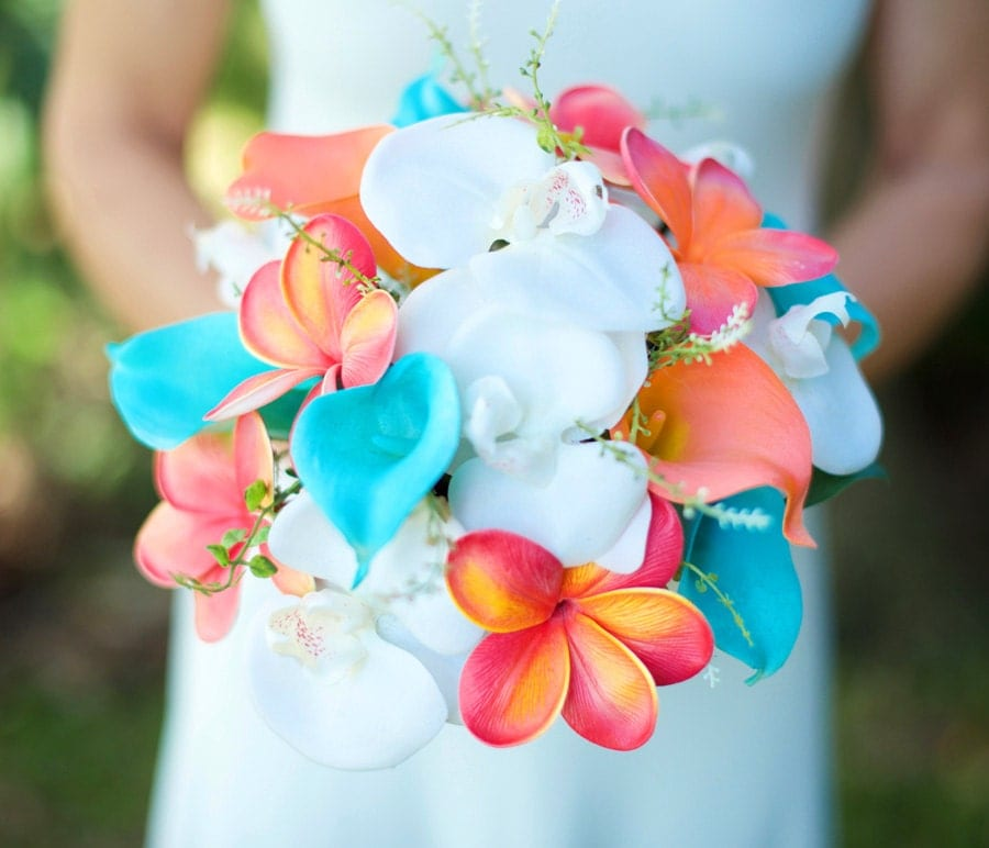 Wedding Coral Orange And Turquoise Teal Natural Touch Orchids
