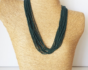 Hunter green necklace, dark green necklace, jungle green,bridesmaid necklace, wedding necklace,multistrand,beaded necklace,bridesmaid gift