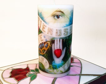 Friendship Love & Truth Victorian Candle Decorated Candle, Gothic Home Decor, All Seeing Eye, Masonic Art, Currier and Ives, Illuminati IOOF