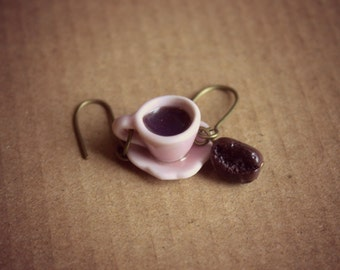 Coffee earrings, polymer clay dangle earrings, vintage style gifts for her, kawaii jewelry