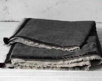 Plaid tweed/ fringes/ tassel/ one of a kind/ handmade