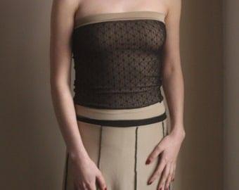 Elegant, Beige and Black, Godet 8 Panel Elastic Waist Skirt.