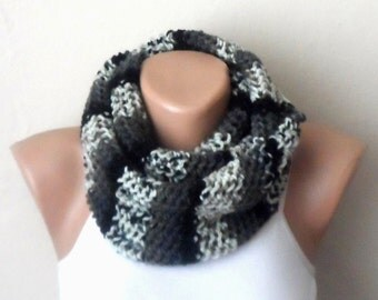 black gray cream knit infinity scarf multicolor scarf circle scarf loop scarf winter accessories woman scarf gift for her