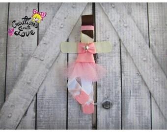 Ballerina Ribbon Sculpture Hair Clip. Ballet Hair Clip. Pink Ballerina