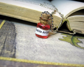 Zombie Antivirus 0.5ml Glass Bottle Necklace Charm - Cork Vial Pendant - Halloween Walking Dead Cure Goth Poison