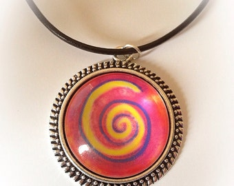 Colorful Spiral Glass Pendant Necklace