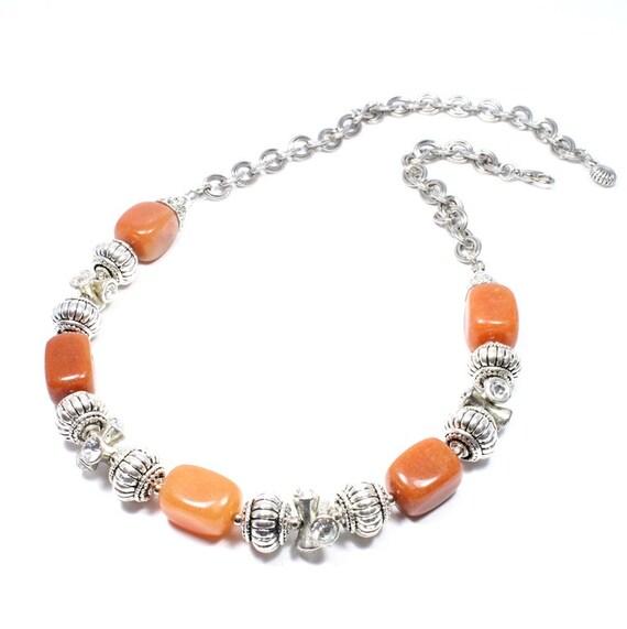 orange quartz necklace gemstone jewelry burnt orange