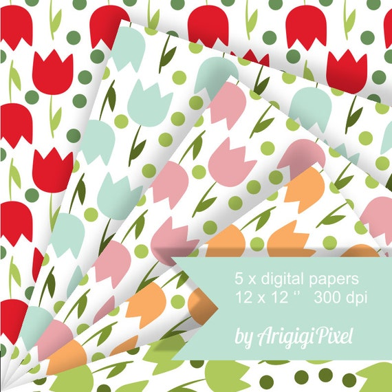 Tulips seamless pattern background digital papers, Spring Easter collage sheet scrapbook download
