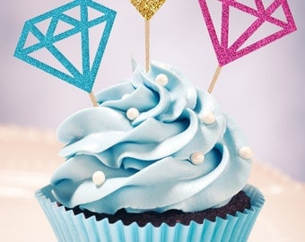 DIAMOND Treat Picks / Cupcake Toppers (Set of 12) - Pick Your Colors!