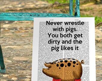 Pig Wrestling Original Illustration Giclee Print Digital Art Pig Art Piggy wall art wall decor wall hanging Inspirational saying pig print