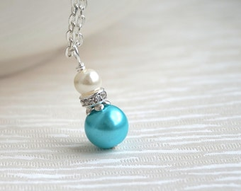 Light Blue Ivory Necklace, Bridesmaid Necklace, Bridesmaids Gift Jewelry, Necklace Aqua Blue Ivory Pearl Necklace Flower Girl Jewelry