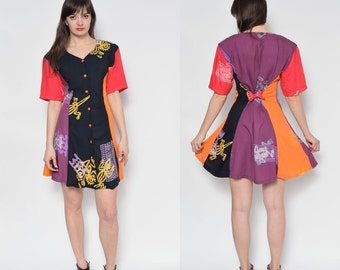 Vintage 80's/90's Multi Color Buttons Up Full Circle Dress