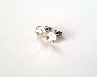 Swarovski Crystal Clear 9mm Surgical Steel Hypoallergenic Post Stud Earrings Jewelry - Free Gift Box - April Birthstone