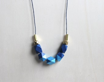 blue wooden geometric necklace // modern dipped necklace for girls, women - bright and trendy everyday jewelry