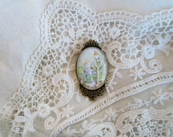 Classic Beatrix Potter Peter Rabbit, Cameo Brooch, Inspired Gift, Jewelry, Secret Garden, Gift for Her, Secret Garden, Victorian, Gift ready