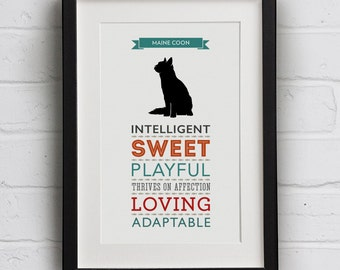 Maine Coon Cat Breed Traits Print - Great Gift for Maine Coon Cat Lovers