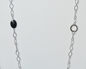 Swarovski Beaded Long Chain Necklace in Jet Black and Crystal Clear