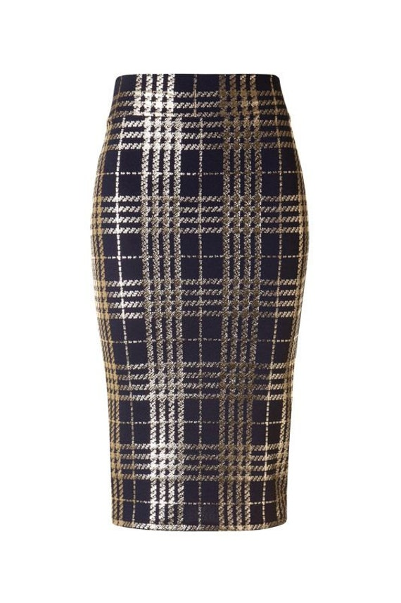plaid metallic pencil skirt blue size large only