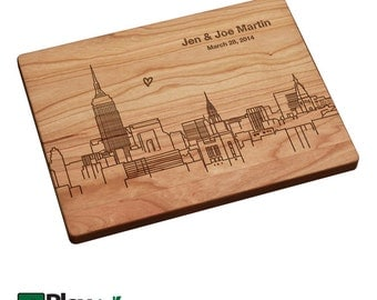 Midtown Manhattan New York Skyline Personalized Engraved Cutting Board,Personalized Wedding Gift,Bamboo,Custom Cutting Board,Wedding Gift